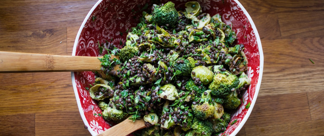 Image result for beluga lentil salad with hummus and tender broccoli